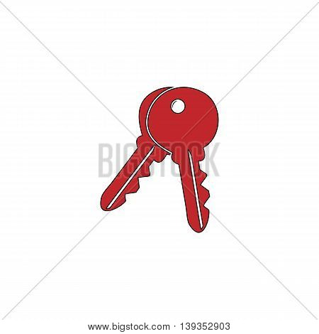 Keys - Unlock tool. Red flat simple modern illustration icon with stroke. Collection concept vector pictogram for infographic project and logo