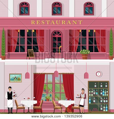Set of detailed restaurant facade and interior. Cool graphic design for cafe with tables, chairs, waiters and waitress. Flat style vector illustration.