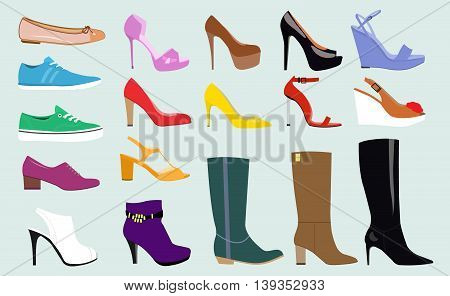 Set with different types of trend women's shoes: ballets, sneakers, boots, flats, pumps, converse. Flat vector illustration