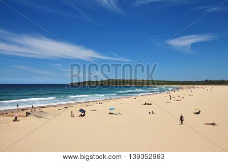 Maroubra Beach and turquoise Pacific. Summer scene in Sydney.