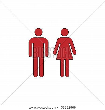 Man and woman - toilet, restroom. Red flat simple modern illustration icon with stroke. Collection concept vector pictogram for infographic project and logo