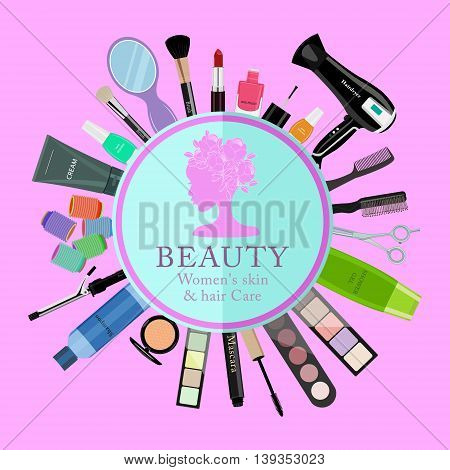 Set of professional cosmetics, various beauty tools and products: hairdryer, mirror, makeup brushes, shadows, lipstick, nail polishes, creams, powder, scissors, combs, etc. Flat vector illustration