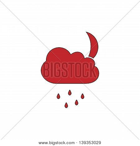 Cloud and rainy month. Red flat simple modern illustration icon with stroke. Collection concept vector pictogram for infographic project and logo