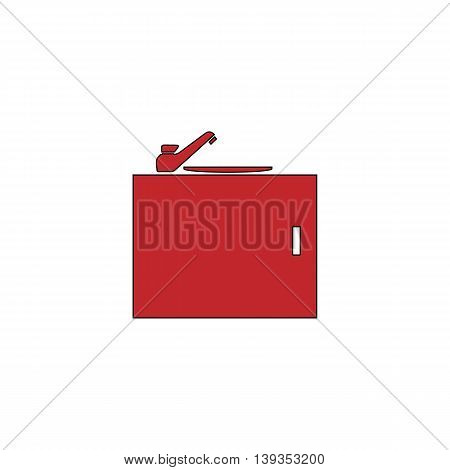 Kitchenware sink basin. Red flat simple modern illustration icon with stroke. Collection concept vector pictogram for infographic project and logo