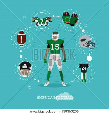 American football player with equipment. Sport concept vector illustration in flat style design. American football uniform, helmet and protection.