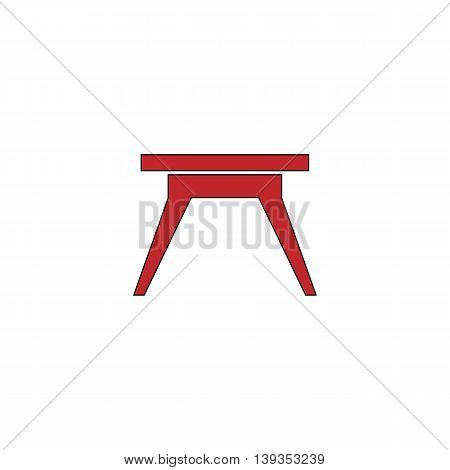 Small table. Red flat simple modern illustration icon with stroke. Collection concept vector pictogram for infographic project and logo