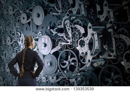 Gears working mechanism . Mixed media