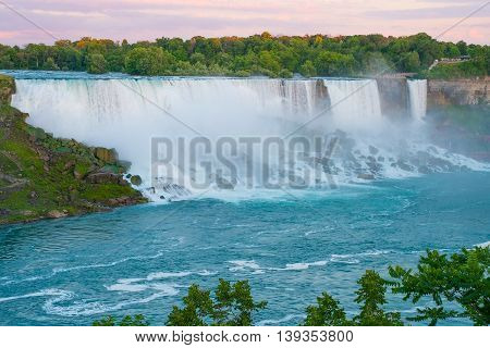 American side of Niagara Falls viewed from across the river.