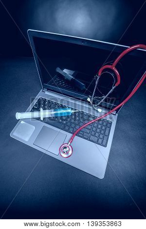 Laptop With A Stethoscope