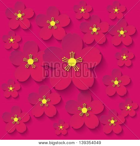 paper flowers burgundy background japanese, concepts, japan, china