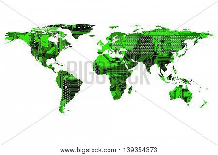 conceptual image of flat world map. NASA World map image used to furnish this image.