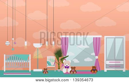 Nursery room interior. Vector illustration in flat style. Baby room with cradle.