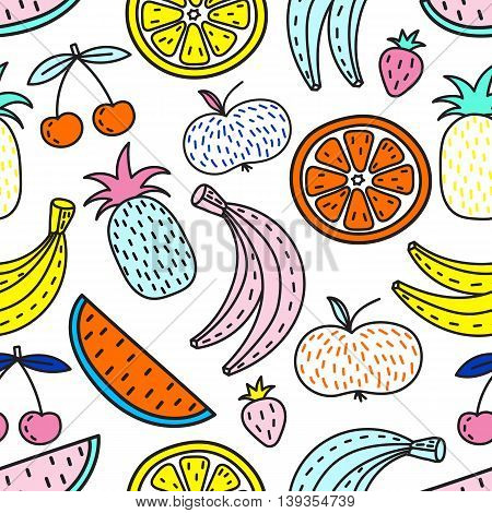 Vector seamless pattern of Fruits. Summer mood. Bright colors