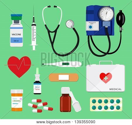 Set of flat colorful medical tools: syringe, stethoscope, thermometer, pills, first aid kit, blood pressure meter. Medical icons vector illustration