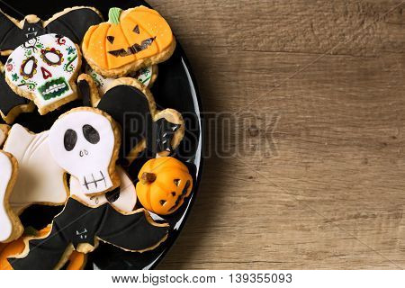 Beautiful Halloween Cookies On Black Plate