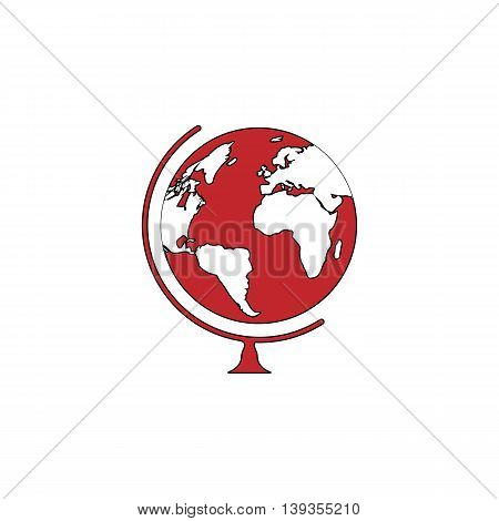 Globe. Red flat simple modern illustration icon with stroke. Collection concept vector pictogram for infographic project and logo