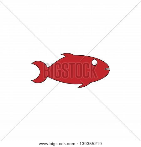 Fish. Red flat simple modern illustration icon with stroke. Collection concept vector pictogram for infographic project and logo