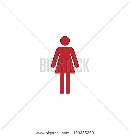 Woman. Red flat simple modern illustration icon with stroke. Collection concept vector pictogram for infographic project and logo