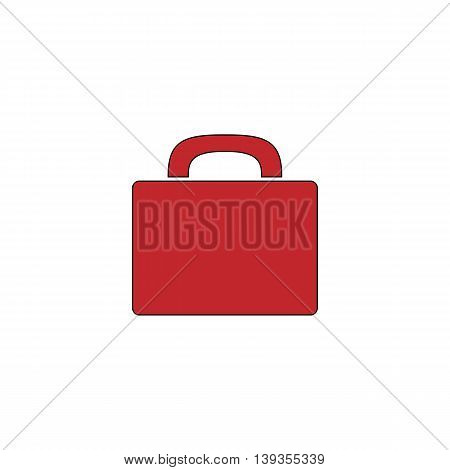 Suitcase. Red flat simple modern illustration icon with stroke. Collection concept vector pictogram for infographic project and logo