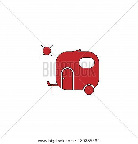 Travel trailer. Red flat simple modern illustration icon with stroke. Collection concept vector pictogram for infographic project and logo