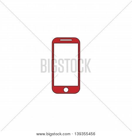 Mobile phone. Red flat simple modern illustration icon with stroke. Collection concept vector pictogram for infographic project and logo