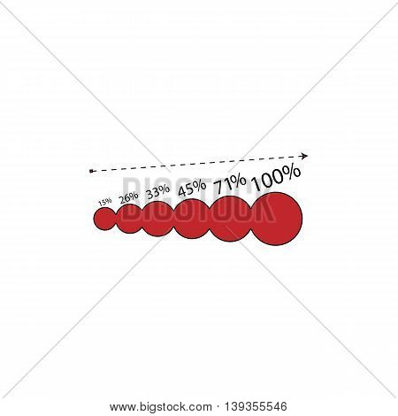 Graphics growth. Red flat simple modern illustration icon with stroke. Collection concept vector pictogram for infographic project and logo