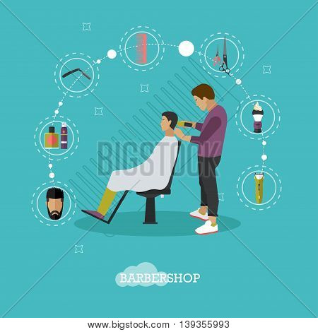 Barbershop concept vector illustration in flat style. Hair salon design elements and icons. Barber shop and hair cut for man.