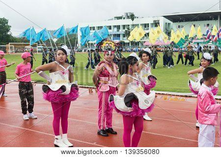 PHUKET THAILAND - JUL 13 : Parade of schoolchild in the stadium on July 13 2016. Opening ceremony of yearly athletics competition of Anuban Phuket School in phuket Thailand