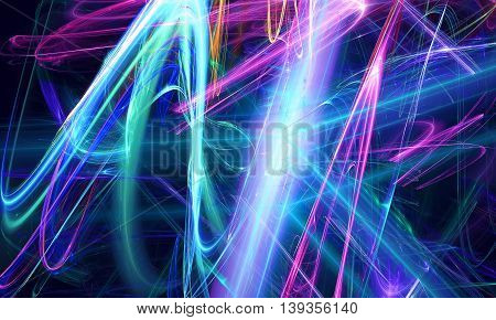 Beautiful neon dark background. Fractal art pattern for wallpaper interior album flyer cover poster booklet