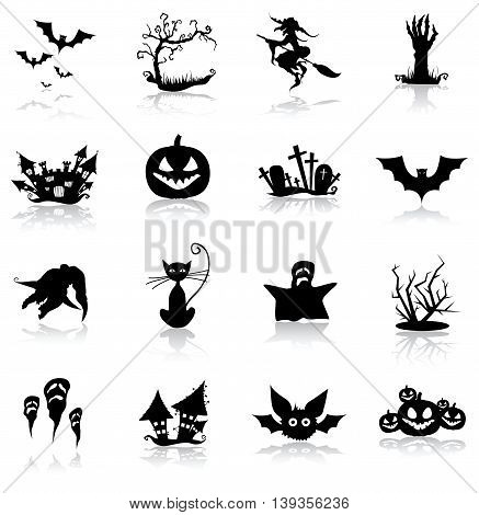 Halloween icon set with shadows on white background