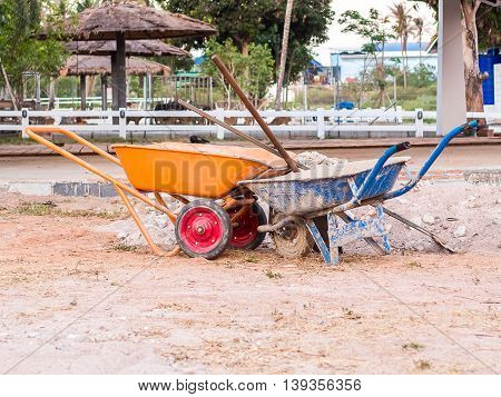 Dirty barrow concrete for construction Cart for construction