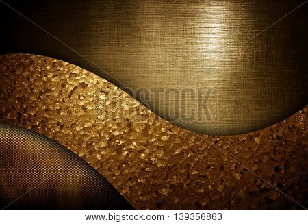 golden metal with curved pattern