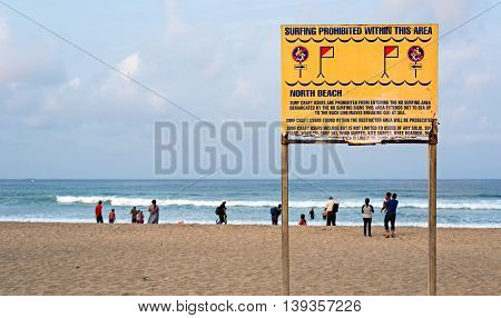 DURBAN SOUTH AFRICA - AUGUST 17 2015: No Surfing sign at North Beach on The Golden Mile promenade
