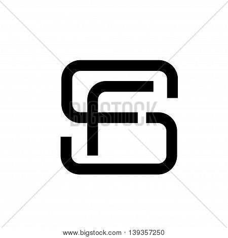 letter S, SF, letter FS flat modern black color logo design