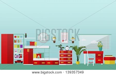 Kids bedroom interior in flat style. Vector illustration. House room design elements and icons.