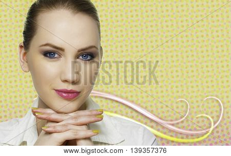 beautiful woman perfect skin care concept on background