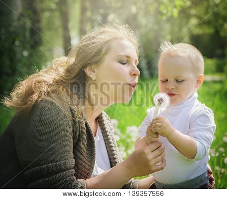 Mother and son blowing on a dandelion in a meadow