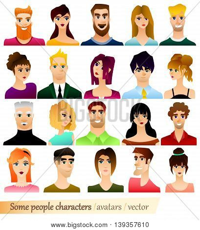 Some people characters and their avatars. Vector illustrator.