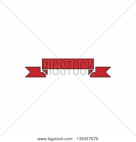 Banner. Red flat simple modern illustration icon with stroke. Collection concept vector pictogram for infographic project and logo