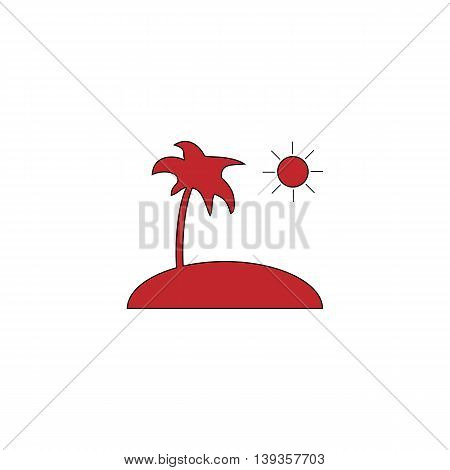 Island and palm. Red flat simple modern illustration icon with stroke. Collection concept vector pictogram for infographic project and logo