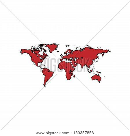 Map of the world. Red flat simple modern illustration icon with stroke. Collection concept vector pictogram for infographic project and logo
