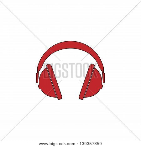 Headphone. Red flat simple modern illustration icon with stroke. Collection concept vector pictogram for infographic project and logo