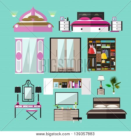 Bedroom interior objects in flat style. Vector illustration. House room design elements and icons.