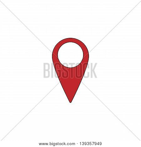 Mark, pointer. Red flat simple modern illustration icon with stroke. Collection concept vector pictogram for infographic project and logo