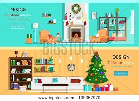 Set of colorful holiday interior design in house rooms with furniture icons. Wreath, Christmas tree, fireplace. Flat style vector illustration