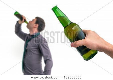 Unfocused Man Drinking Alcohol