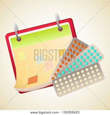 Calendar and tablets plates. Pills to treat. Medicine and health care. Vector illustration.