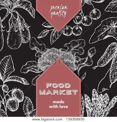 Food market label template with hand drawn sketch of berries and vegetables. Great for store and packaging design.