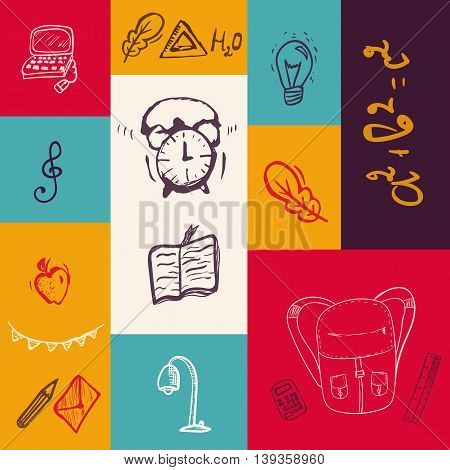 Back to School colorful banner with doodle elements. Vector illustration can be used for greeting cards, clothes