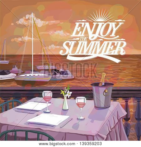 Enjoy summer design with handdrawn illustration of a romantic sunset dinner for two on the sea beach, served restaurant table